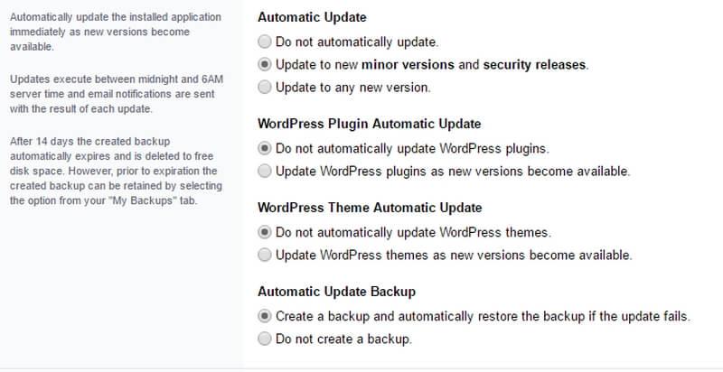 automatisch updaten van wordpress