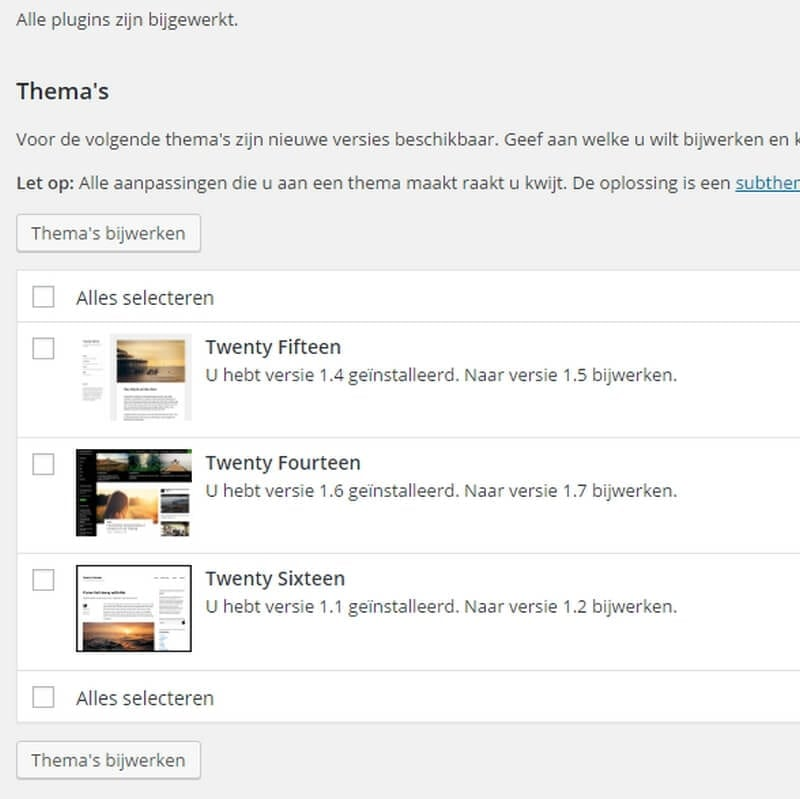 dashboard WordPress updates