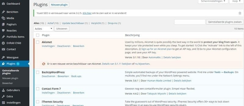plugins bijwerken WordPress