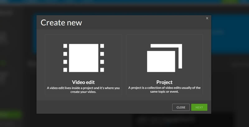 create new project wevideo