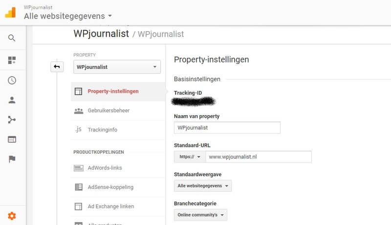 tracking instellingen googel analytics