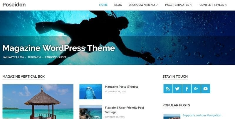 poseidon gratis wordpress theme