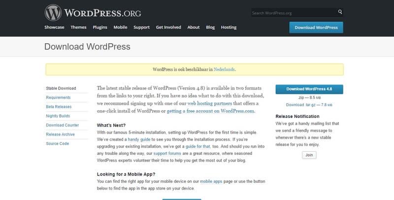 Wordpress.org downloadpagina