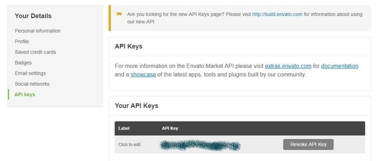 api key envato themeforest