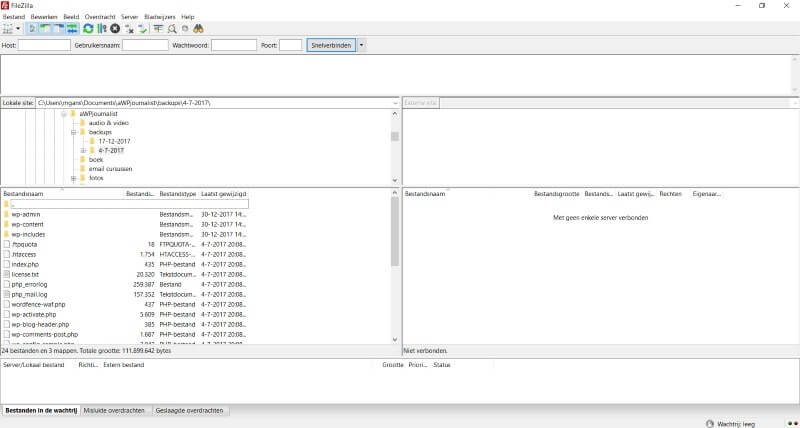 overzicht ftp programma filezilla