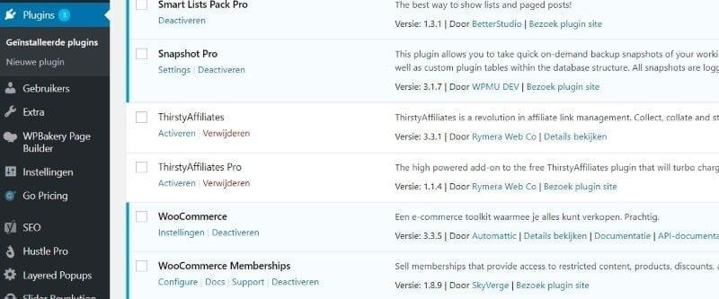 gedeactiveerde WordPress plugins verwijderen