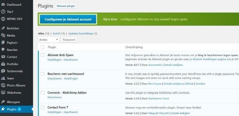 akismet spam tegengaan website