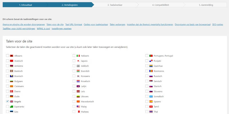 taal kiezen WPML (