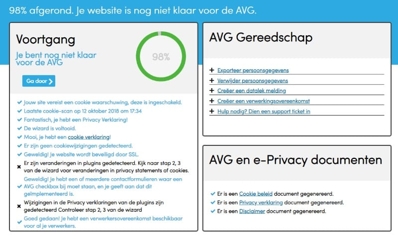 Complianz GDPR dashboard