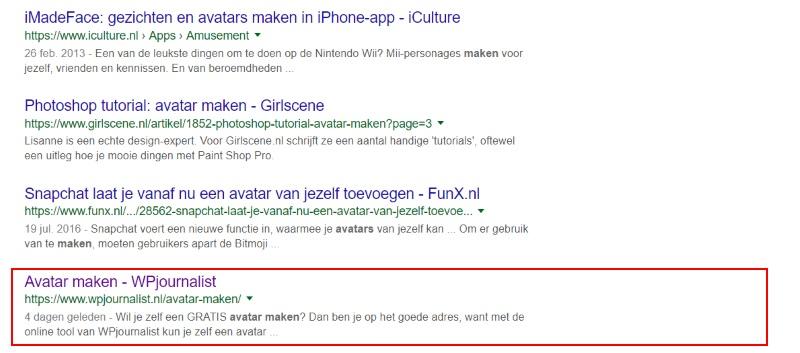 google zoekresultaat script