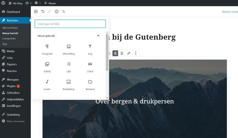 blok toevoegen van wordpress gutenberg editor