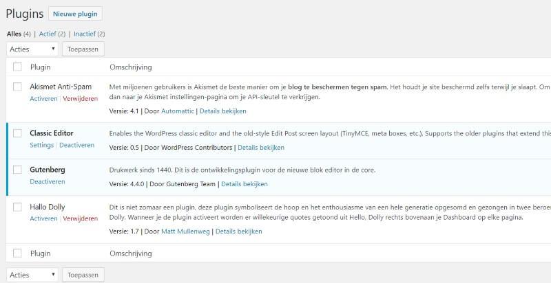 klassieke plugin en gutenberg plugin naast elkaar gebruiken