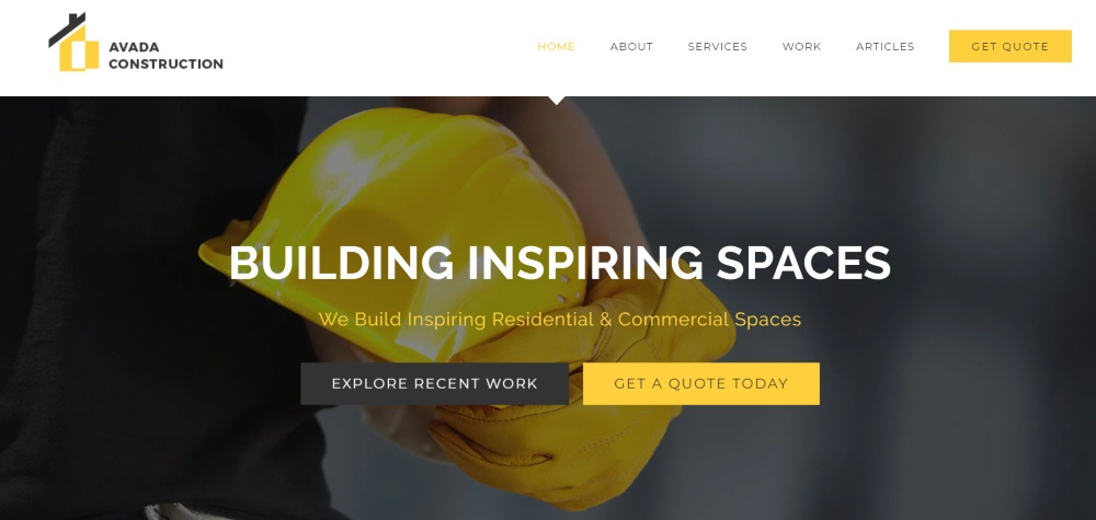 avada construction theme